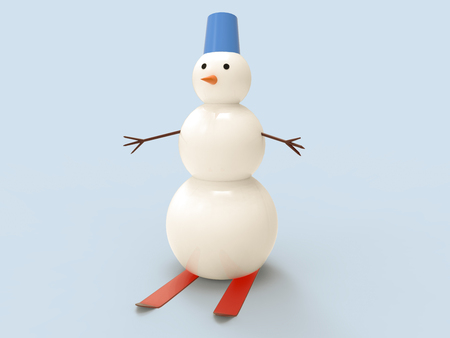 3D illustration and 3D rendering of a snowman skiing on a blue background