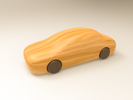 3D illustration and 3D rendering car made of wood on a white background.