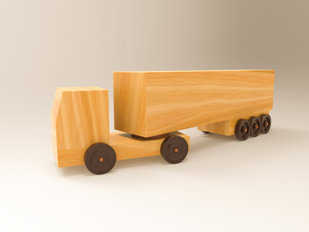 3D illustration and 3D rendering wooden truck on a white background. Stock Photo
