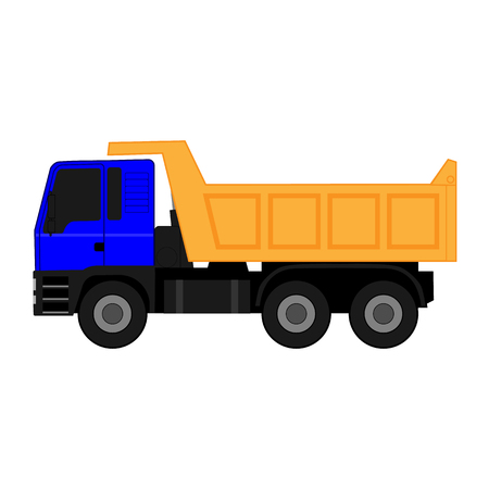 Icon blue dump truck with yellow body on white background