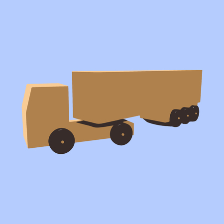 Wooden truck with a trailer on a blue background.