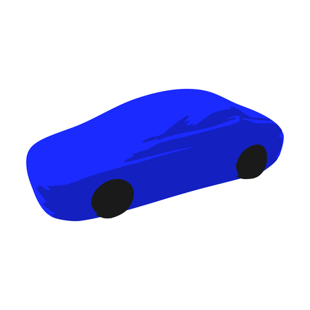Icon symbol blue sport racing car on a white background. Illustration