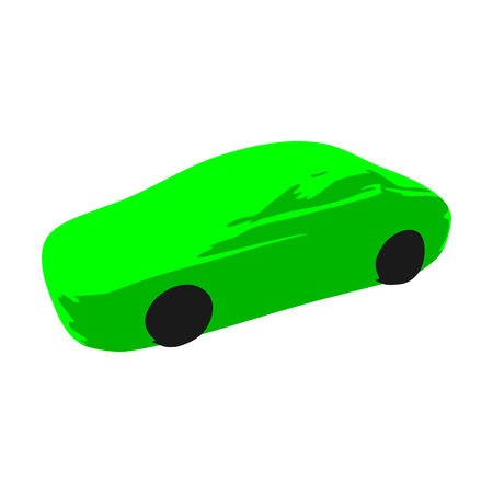 Icon symbol green sports race car on a white background.