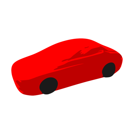 Icon symbol of a red sports race car on a white background. Illustration