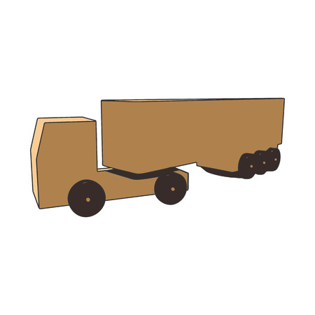 Cardboard truck with a trailer on a white background.