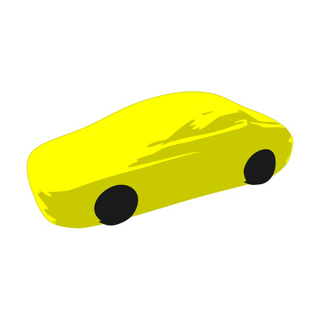 Icon symbol yellow sport racing car on a white background.