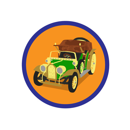 Icon old car in an orange circle on a white background.