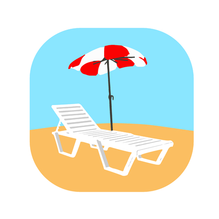 Icon deck chair on the beach with an umbrella on the yellow sand Illustration