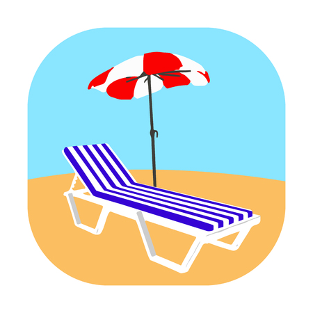 Icon chaise lounge with mattress on the beach on the yellow sand on a white background Illustration