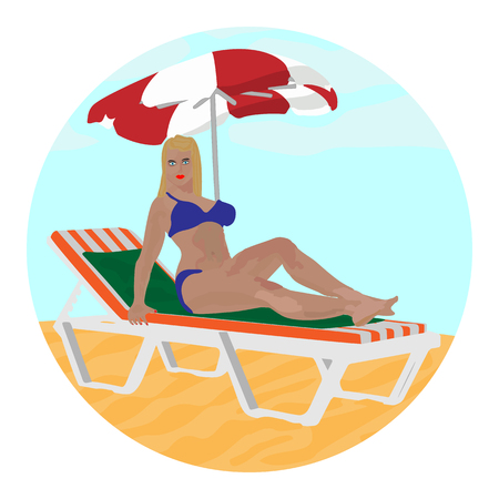 Icon beautiful girl on a lounger on a white background. Illustration