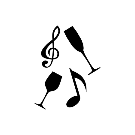 Music icon depicting alcohol in the bar on a white background 矢量图像