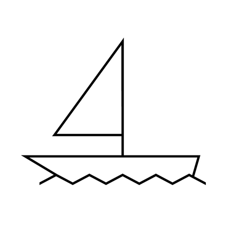Icon yacht sailing on the sea - outline boat on white background