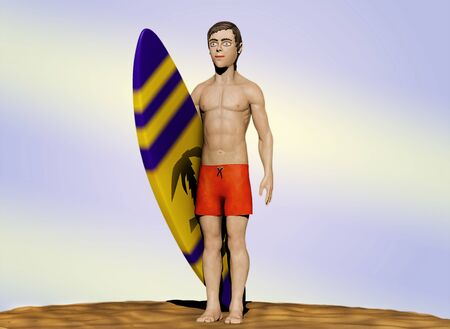 3d illustration of a guy in swimming trunks standing with a surfboard