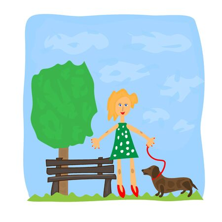 Drawing for children girl with a dog in the park. Illustration