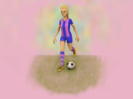 3d illustration girl plays football on a pink background
