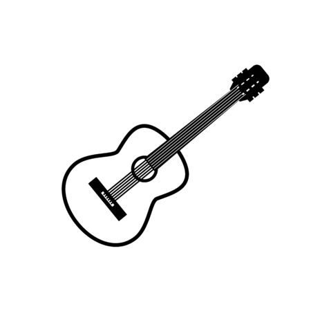 Guitar contour icon in black on a white background Illustration