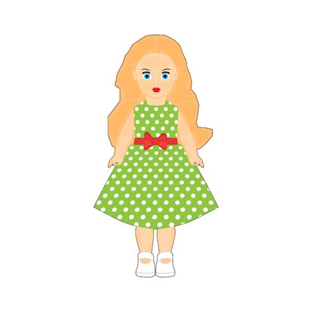 Children's doll of a little girl in a green dress on a white background Ilustracja