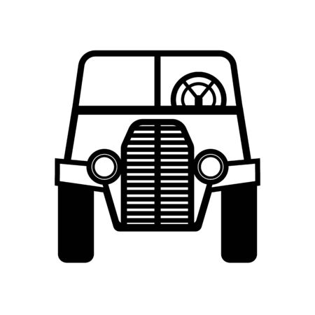 Front view classic car outline icon on white background 矢量图像