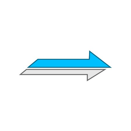 Icon blue and white arrow to the right on a white background