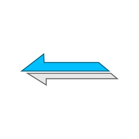 Icon blue with white left arrow on a white background