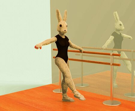 3D illustration of a bunny ballerina is engaged in choreography 스톡 콘텐츠