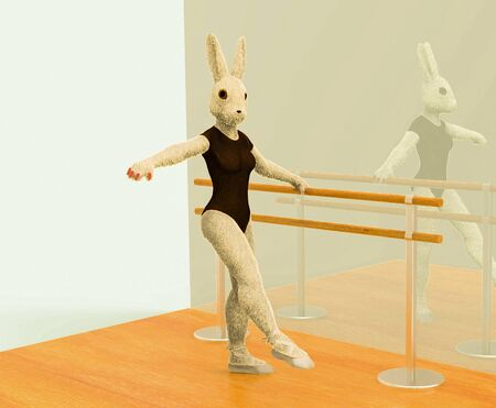 3D render bunny ballerina is engaged in ballet, dancing and choreography
