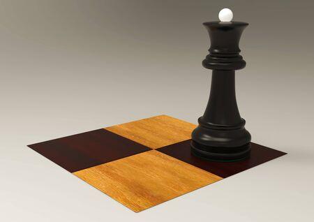 3d illustration chess piece queen on a chessboard 免版税图像
