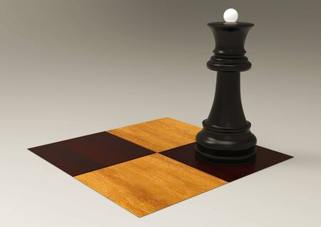 3d illustration chess piece queen on a chessboard Stock Photo