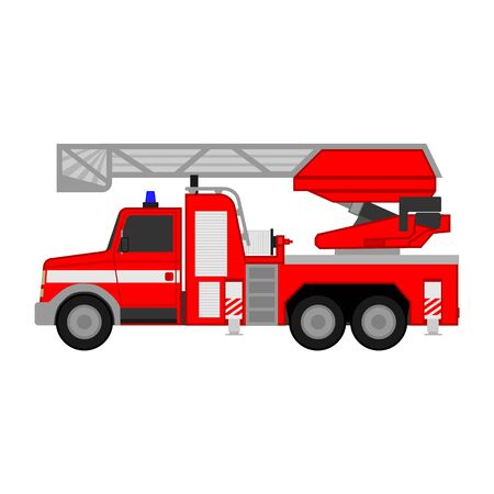 Fire truck 911 red car on a white background