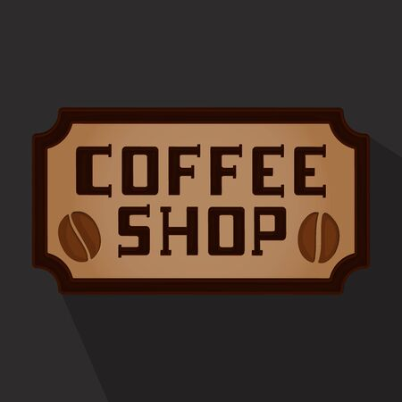 Coffee shop icon, coffee drinking places on a dark background Illustration