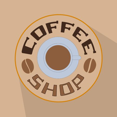 Coffee shop icon with a picture of a cup of coffee on a coffee color background