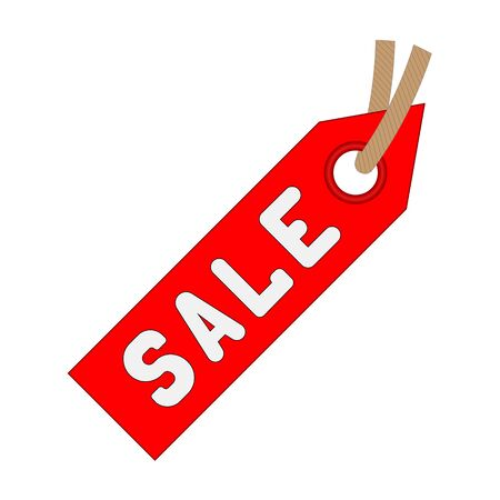 Discount red price label icon on a white background