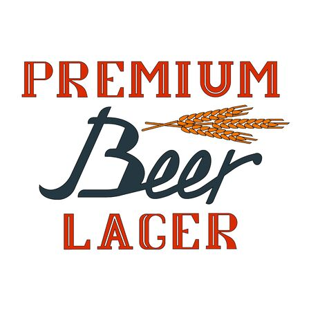 Beer calligraphic icon in written letters on a white background Illustration
