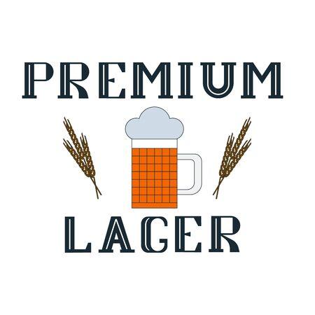 Premium lager wheaten beer, beer mug icon on a white background Illustration