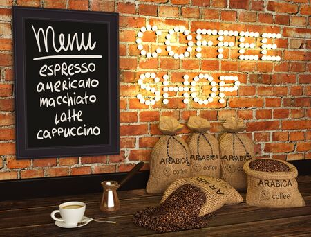3d illustration of coffee shop, composition of bags with coffee, cup and coffee Turk