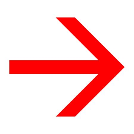 Red arrow right icon on white background for graphs and design