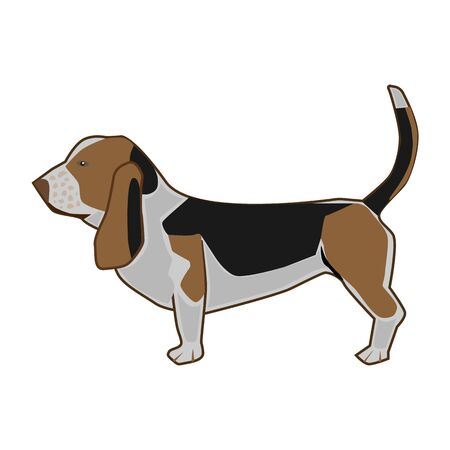 Icon spotted dog with ears on a white background