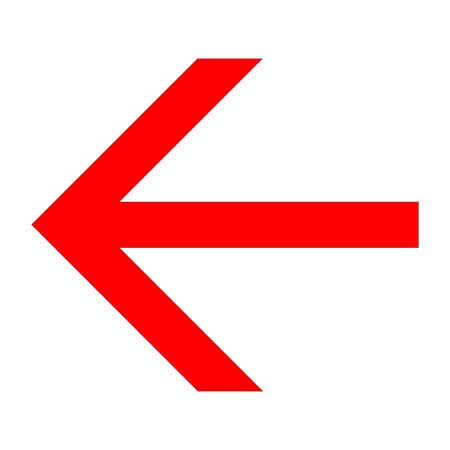 Angular red arrow to the left icon on a white background Illustration