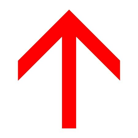 Red angular up arrow icon on a white background Illustration