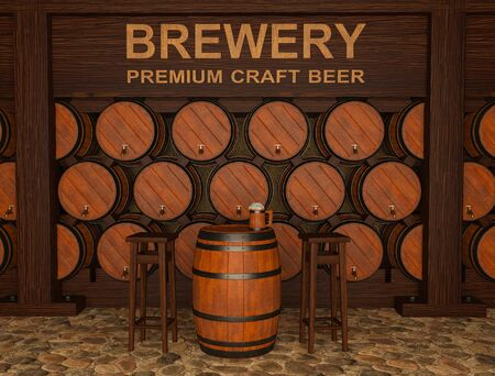 3d illustration of craft brewery with beer barrels 免版税图像