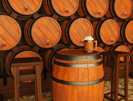 3d illustration of beer barrels and a foamy beer mug