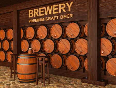 3d illustration of craft brewery with beer barrels 스톡 콘텐츠