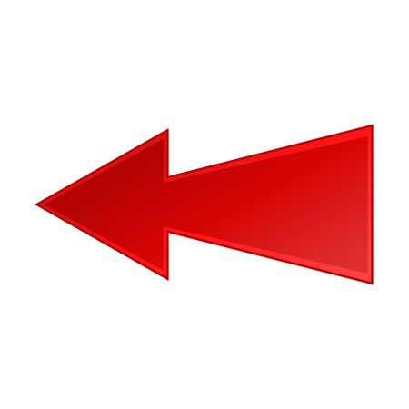 Angular red arrow to the left icon on a white background 일러스트