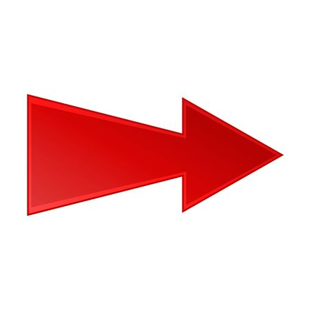 Bright red right arrow icon on white background
