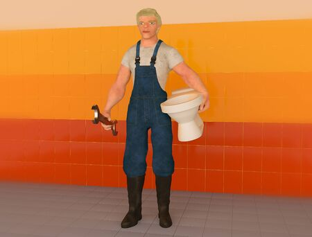 3d illustration of a plumber with a toilet bowl and wrench
