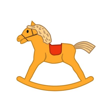 Wooden horse icon for children on a white background 일러스트