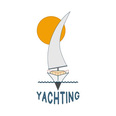Sailing yacht icon and yachting inscription on a white background
