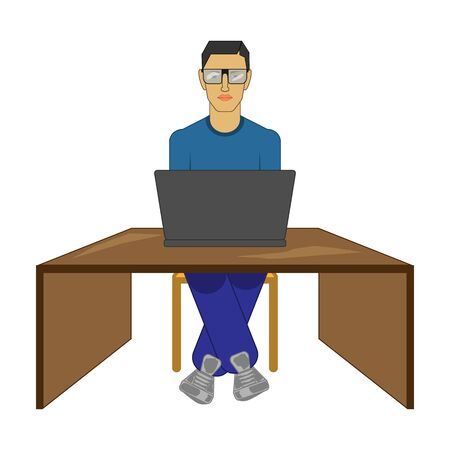 Icon guy with a laptop on a white background Illustration