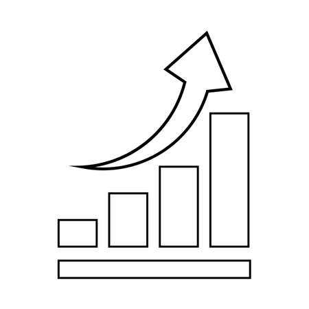 Profit graph icon with up arrow on a white background