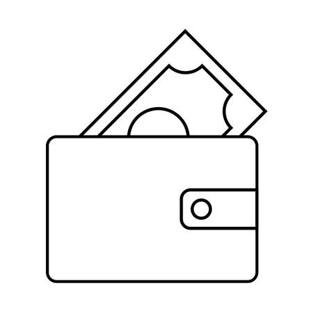 Wallet symbol icon with money on a white background